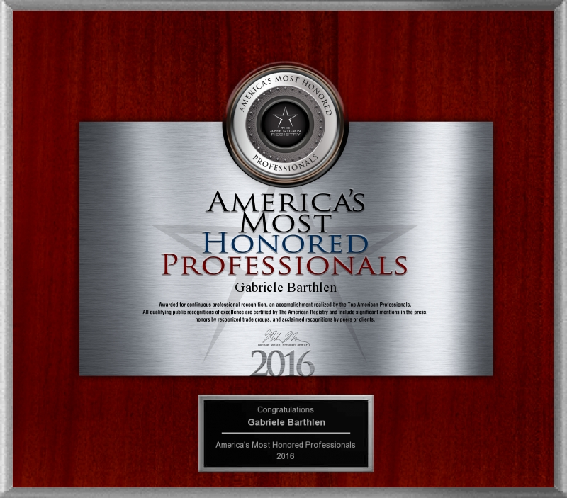 America's Most Honored Professionals 2016 (Dr. Gabriele Barthlen)